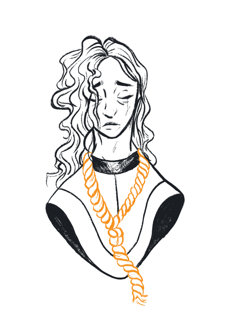 Woman with noose around her neck