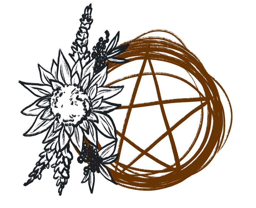 pentacle wreath with ornamental sunflowers